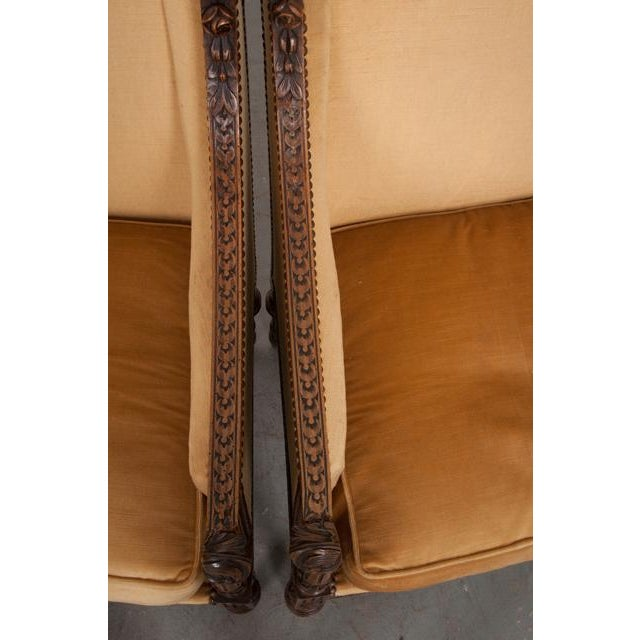 Mid 19th Century French 19th Century Louis XVI Carved Walnut Bergères - a Pair For Sale - Image 5 of 12