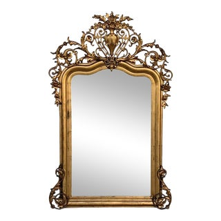 19th Century French Empire Period Carved Giltwood Rectangular Mirror With Crest For Sale