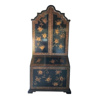 1990s Chinoiserie Black Lacquer and Painted Secretary Desk For Sale