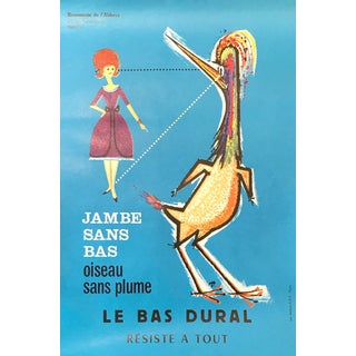1960s Original French Advertising Poster, Jambe Sans Bas, Le Bas Dural For Sale