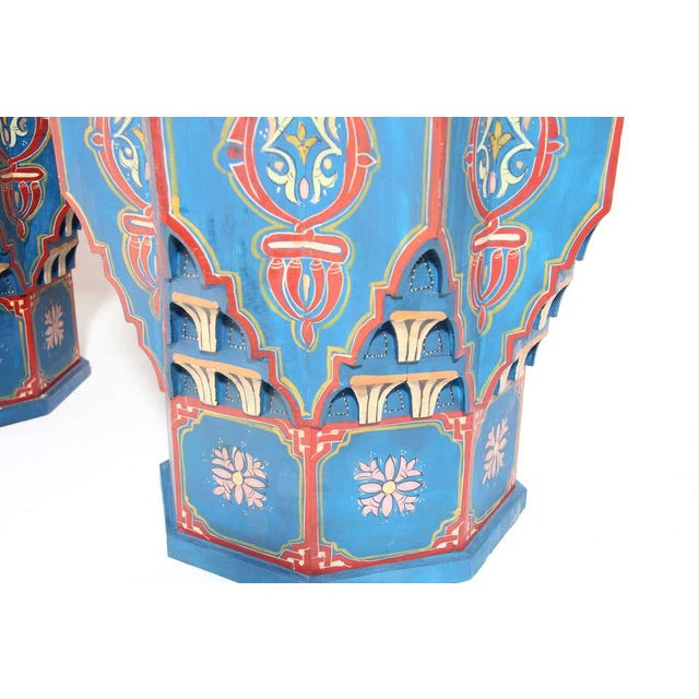 Moroccan Moorish Star Shape Blue Side tables - A Pair For Sale - Image 3 of 13