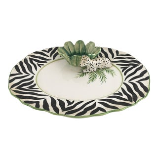 Vintage Italian Jungle Theme Hand Painted Serving Dish For Sale