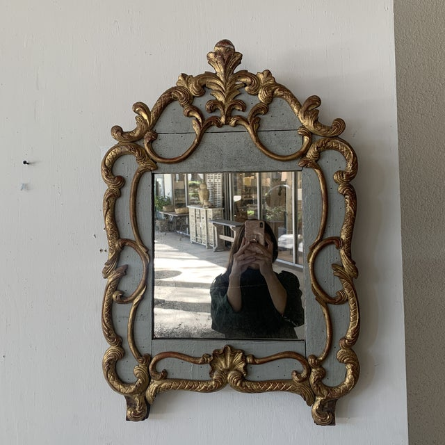 Gold 18th Century French Mirror With Carved and Gilded Overlay For Sale - Image 8 of 13