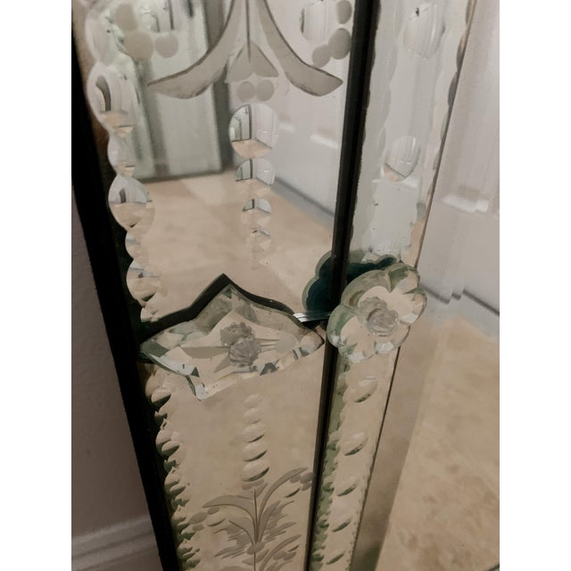 Glass Vintage Venetian Tall Mirror For Sale - Image 7 of 12