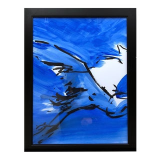 "Contemporary Ink Painting ""Great Blue 2"", Heron Series, by James Repton For Sale"