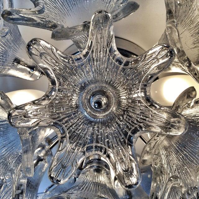 Mid-Century Glass Flower Light Fixture - Image 7 of 9