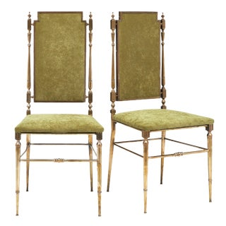 Brass and Velvet Side Chairs by Chiavari