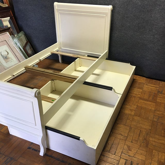 White Twin Bed with Drawers - Image 5 of 8
