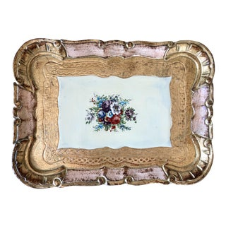 Vintage Floral Florentine Tray For Sale