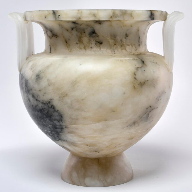 Italian Carved Alabaster Vase With Handles For Sale - Image 11 of 11
