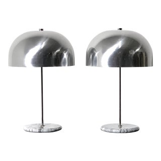 1970s Marble Base Mushroom Table Lamps - a Pair For Sale