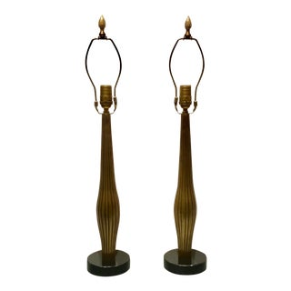 Transitional Currey & Co. Reeded Brass Metal Lamps - a Pair