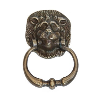 Antique English Brass Lion Door Knocker For Sale