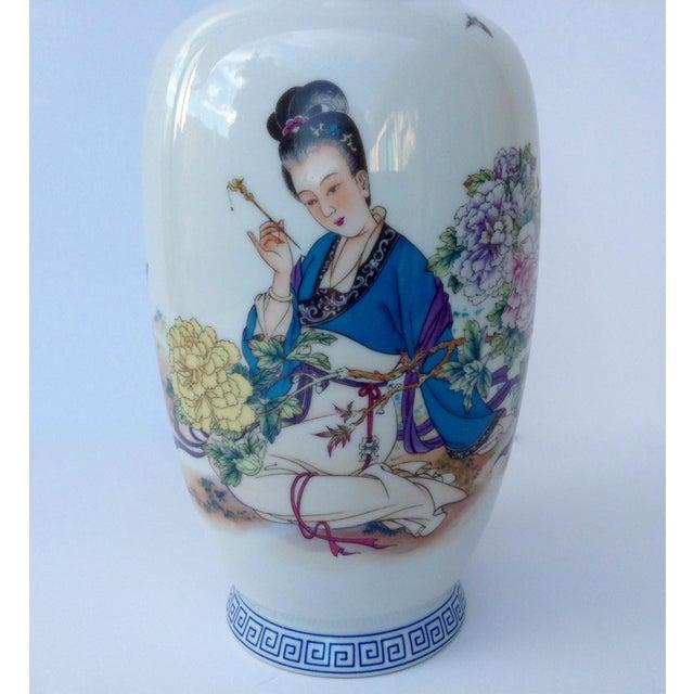 Royal Blue Vintage Japanese Porcelain Kutani Ceremonial Greek Key Vessel, Vase For Sale - Image 8 of 11