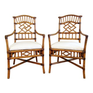 20th Century Chippendale Bamboo Chairs - a Pair For Sale