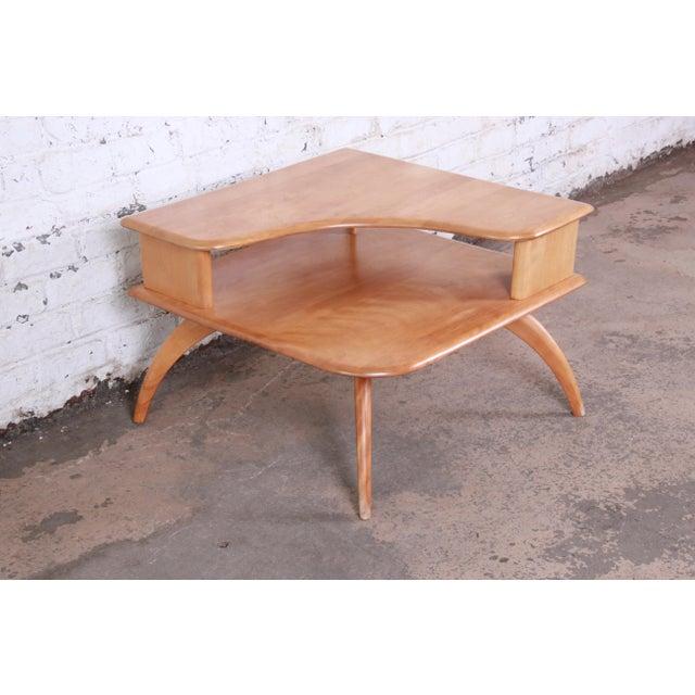 Heywood-Wakefield Heywood Wakefield Mid-Century Modern Solid Maple Corner End Table, 1950s For Sale - Image 4 of 11