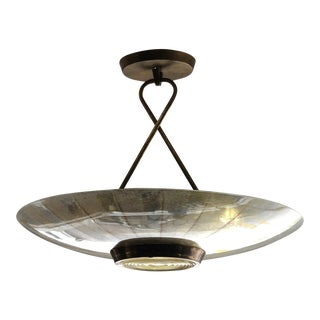 1950s Lightolier Fresnel Textured Glass Chandelier For Sale