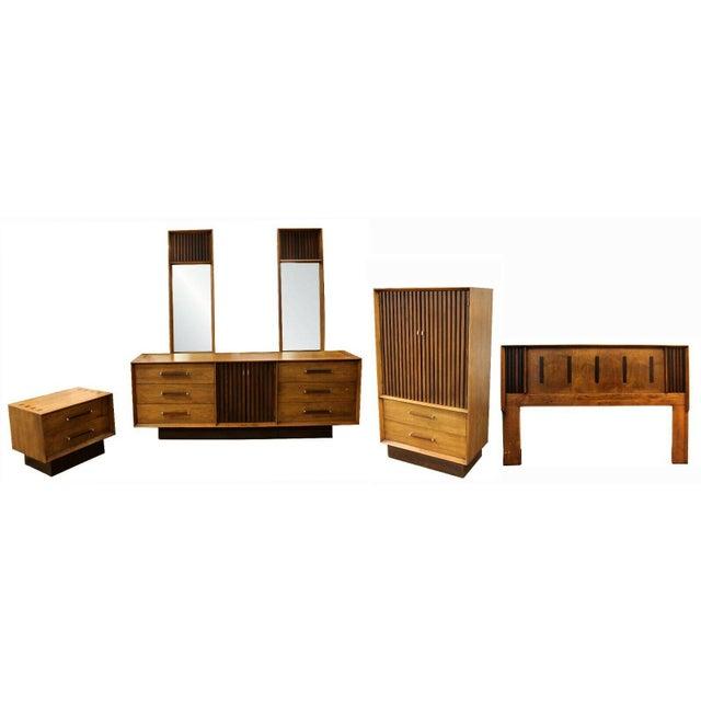 Mid Century Modern Lane Rosewood Bedroom Set Dresser Headboard Cabinet - Set of 6 For Sale - Image 13 of 13