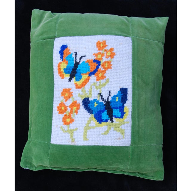 Vintage 1970's Butterfly Needlepoint Pillow - Image 3 of 6