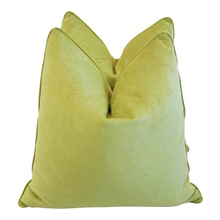 Custom Apple Green Velvet Pillows - Pair For Sale