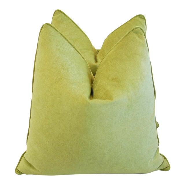 Custom Apple Green Velvet Pillows - Pair For Sale