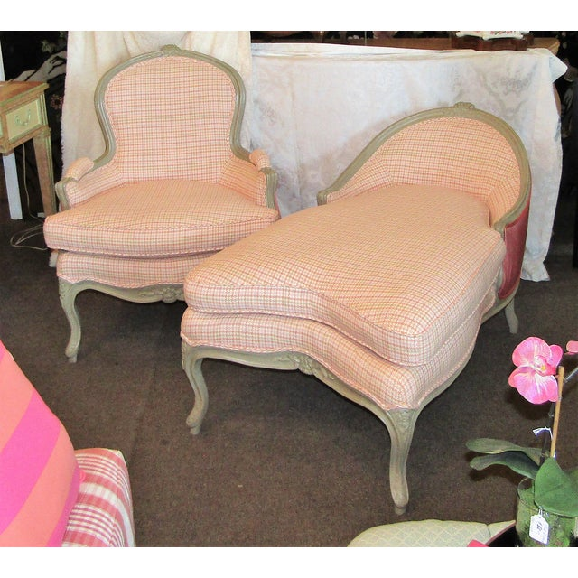 Louis XVI Duchesse Brisse, two piece. Upholstery on the backs is pink, the front/face of upholstery is a plaid with cream...