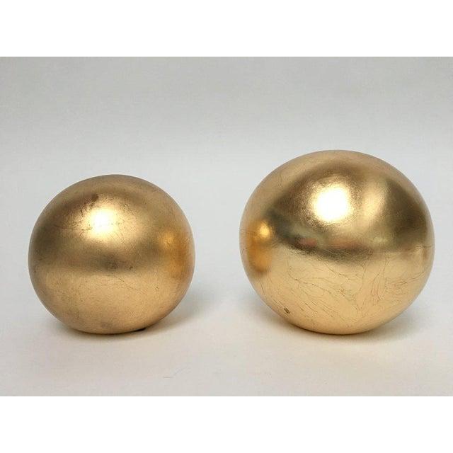 Jaru Gold Leaf Ceramic Orb Sphere Sculptures - a Pair For Sale In New York - Image 6 of 6