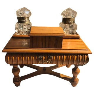 Late 19th Century Antique English Miniature Desk Double Inkwell Box For Sale