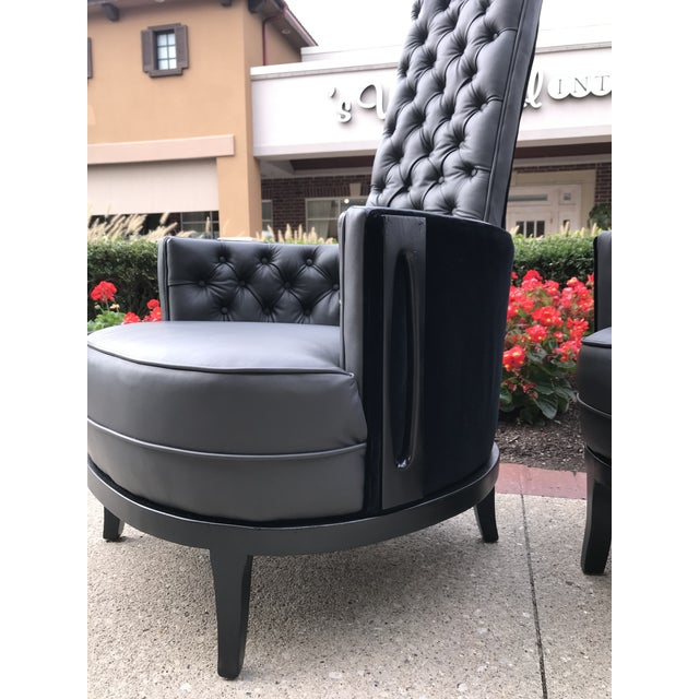 Wood Vintage Mid Century Modern Adrian Pearsall Gray Leather Tufted Black Velvet Occasional Chairs- a Pair Mid-Century Modern For Sale - Image 7 of 8