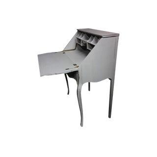Antique Victorian Secretary Desk Gustavian Style Grey Ladies Slant Desk For Sale