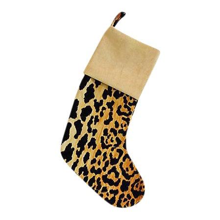 Boho Chic Custom Velvety Leopard Christmas Stocking For Sale