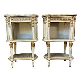 1930 French Hand Painted Marble Top Nightstands-A Pair For Sale