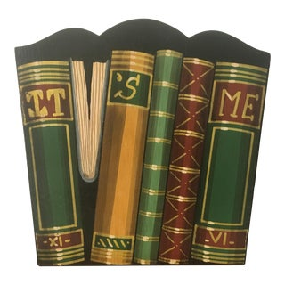 Bergdorf Goodman Fornasetti Style Mid Century Hand Painted Libri Book Wastebasket For Sale