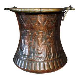 Vintage Persian Warrior Motif Hammered Copper Bucket Pot For Sale