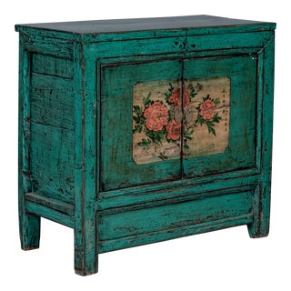 Chinese Green Painted Cabinet For Sale