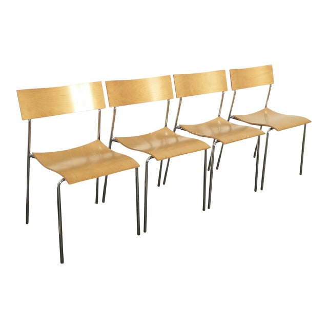 Lammhults Mobel Ab Mid-Century Wood & Chrome Accent Chairs - Set of 4 For Sale