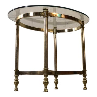 Vintage 1960s Brass & Glass Top Oval Side Table For Sale