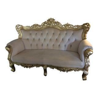 Gilded Velvet Glamorous Sofa For Sale