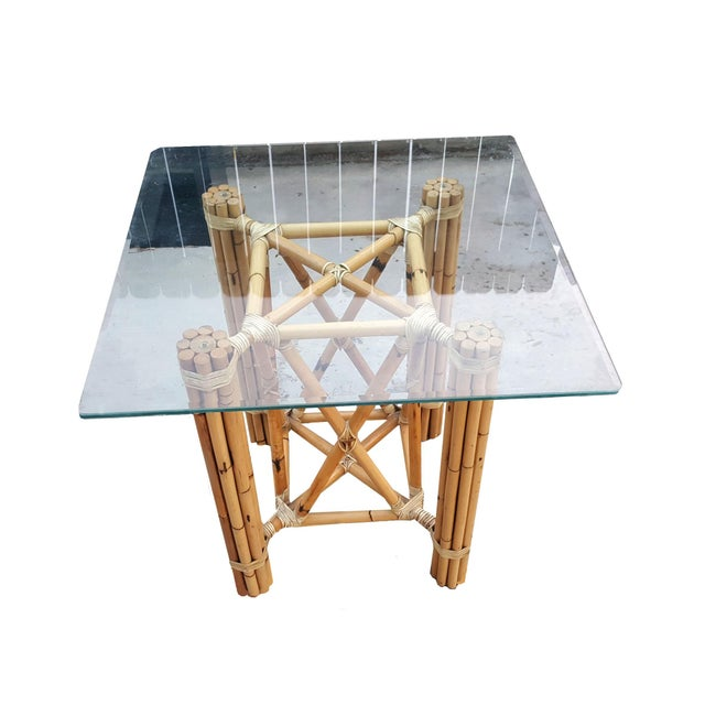 1980s Vintage Bamboo McGuire Rawhide Wrapped Rattan Style Reeded Table Base For Sale In Palm Springs - Image 6 of 6