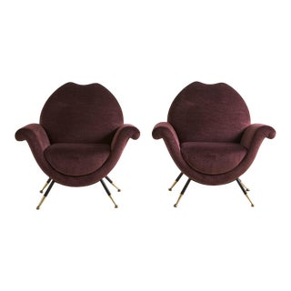 Pair of Italian Lounge Chairs in Purple Mohair For Sale