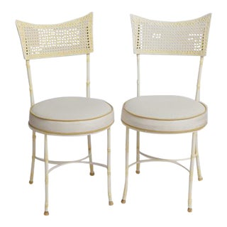 Mid-Century Wrought Iron Faux Bamboo & Cane Chairs - a Pair For Sale
