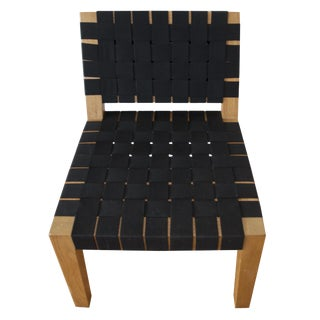 Mid-Century Modern Teak and Woven Black Fabric Lounge Chair