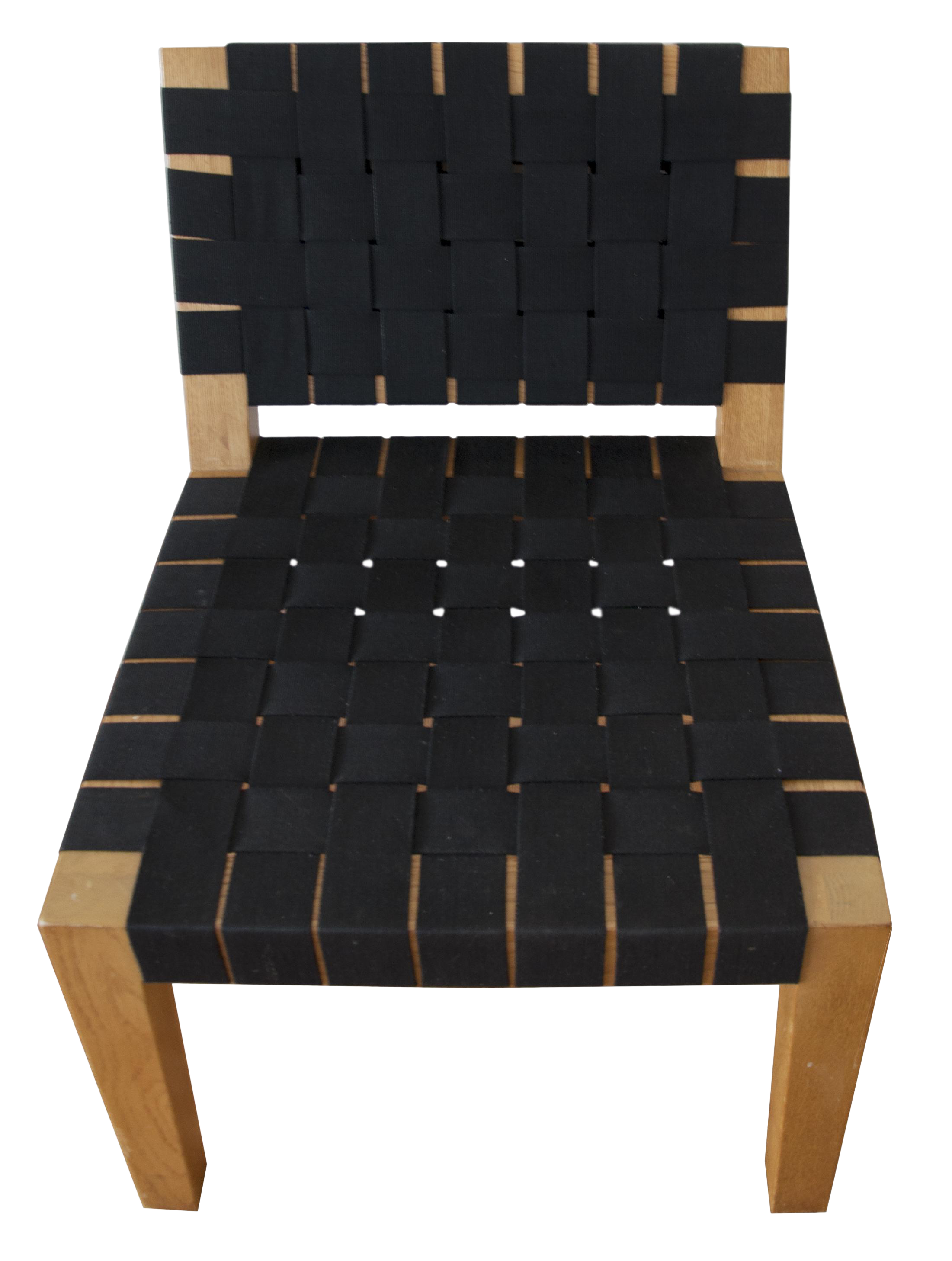 Mid Century Modern Teak And Woven Black Fabric Lounge Chair   Image 1 Of 5