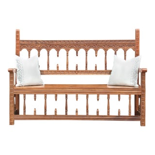 Spectacular Spanish Colonial Castilla Bench For Sale