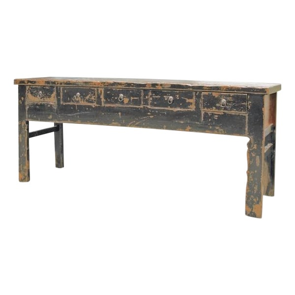 Distressed Black 5 Drawer Console - Image 1 of 3