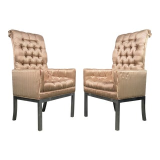 Mid Century Modern Parsons Dining Chair Set Eight Chairs With Two Armchairs After Milo Baughman For Sale
