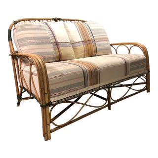 Vintage Rattan Loveseat with Injiri Cushion For Sale