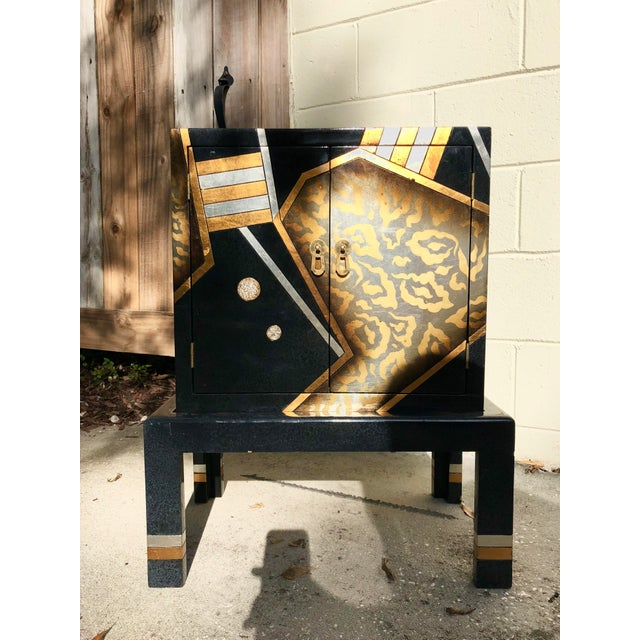 Vintage Hand-Painted Black and Gold Cabinet For Sale - Image 9 of 9