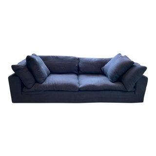 Restoration Hardware Navy Cloud 2 Seat Down Sofa For Sale