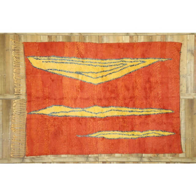 Persimmon Moroccan Contemporary Rug Inspired by Paul Klee - 07'01 X 09'09 For Sale - Image 8 of 10